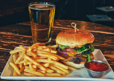Beaver Banff fries, burger and beer.